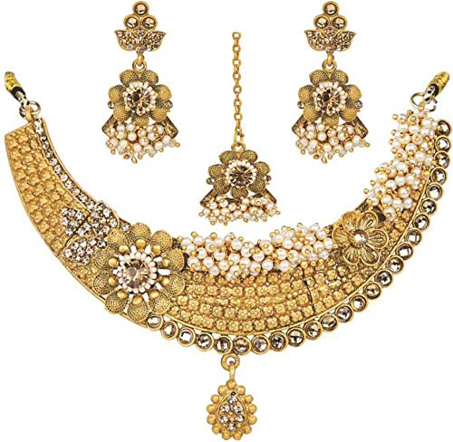 Jewel India Bollywood Ethnic Wedding Bridal Collection 22k Gold Plated Traditional Pearl Kundan Choker Necklace Set ()