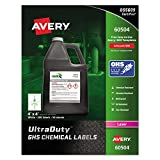 "Avery UltraDuty GHS Chemical Labels for Laser Printers, Waterproof, UV Resistant, 4"" x 4"", 200 Pack (60504)"