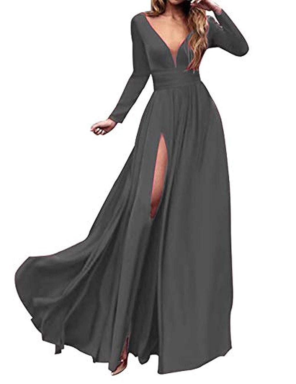 3style Grey MariRobe Women's High Split Evening Dress Deep V Neck Prom Gown Long Sleeve Party Gown