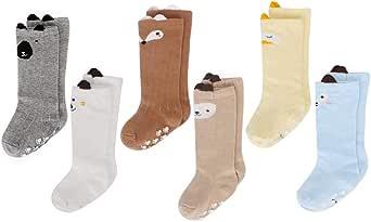 LACOFIA 6 Pares de calcetines largos de altos para bebé niñas Medias de algodón de punto princesa infantiles niña