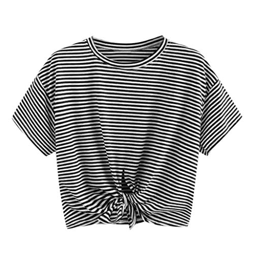 - Allywit- Women Short Sleeve Tops Casual Crew Neck Loose Fit Cotton Tie Front Knot Crop Top Teen Girls Cute Gym Tee Shirt Black