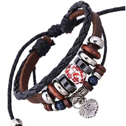 SumBonum Jewelry Womens Genuine Leather Braided Surfer Wrap Bracelet, Vintage Wood Beads Leaf Dangle Cuff Charm Bracelet, Adjustable Fits 7 Inch-12 Inch, Black Brwon Silver