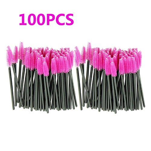 Makeup Brush , Sandistore 100pcs/lot make up brush Pink synthetic fiber One-Off Disposable Eyelash Brush Mascara Applicator Wand Brush