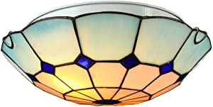 """BAYCHEER Tiffany Style Ceiling Lamp 2 Lights Flush Mount Ceiling Light with Glass Shade 12"""" Mediterranean Ceiling Fixture Hanging Lights for Hall, Kitchen Island, Entry in Blue"""