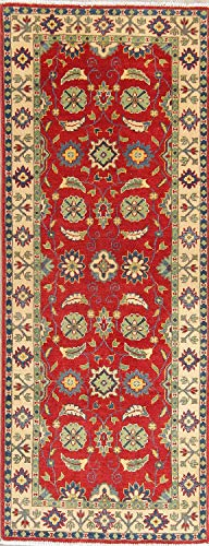 New One-of-a-Kind Pakistani Kazak Wool Hand Knotted Traditional Oriental Runner Rug 3x6 Red (6' 6