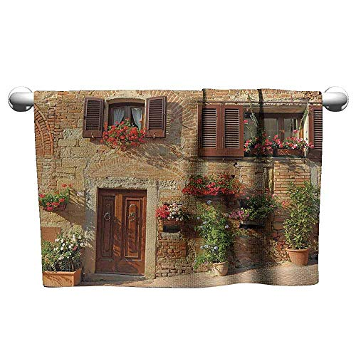 """alisoso Shower Towel W 24"""" x L 8"""" Tuscan Decor Collection,Mediterranean Architecture Houses and Flowers in Italian Hill Town Print,Brown Ivory,Washcloths"""