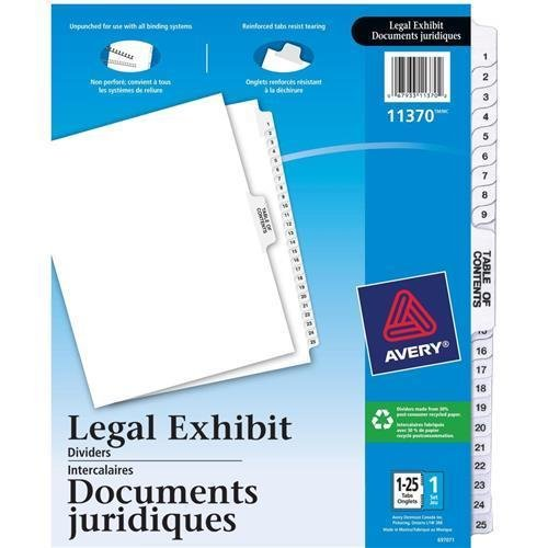 "Nice 11370 Avery Premium Collated Legal Exhibit Divider - 26 x Divider(s) - Printed 1 - 25 - 26 Tab(s)/Set - 8.50"" Divider Width x 11"" Divider Length - Letter - 25 / Set - White Divider - White Tab supplier"