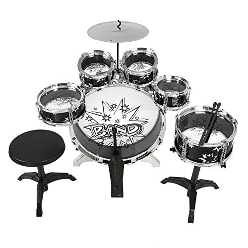 Kids Drum Set Kids Toy with Cymbals Stands Throne Black S...