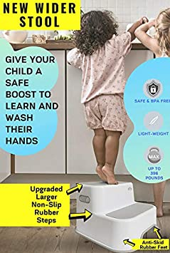 Wider Dual Height 2 Step Stool for Kids New Version Toddlers Stool for Potty Training and Use in The Bathroom or Kitchen 1 Pack, Greige BPA-Free Strong Soft-Grip Steps for Comfort and Safety