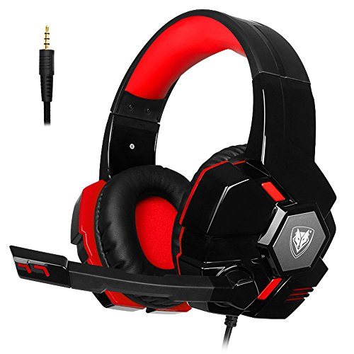 PS4 Xbox One Gaming Headset with Microphone Stereo PC Headphones 3.5mm Wired Over Ear Adjustable Leather Headband Volume Control Noise Cancelling for Computer, Laptop, Mac, Tablet, Chat (Black-Red) by NUBWO