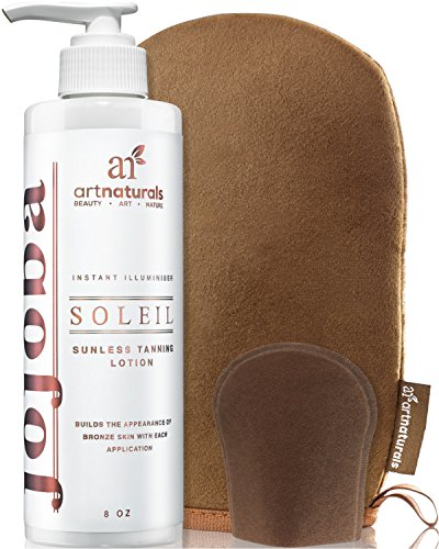 ArtNaturals Sunless Self-Tanner Lotion Set - (8 Fl Oz / 236ml Lotion and Mitt) - Buildable Bronze and Golden Tan - Instant Tint for All Skin Types, Light, Fair, Medium and Sensitive