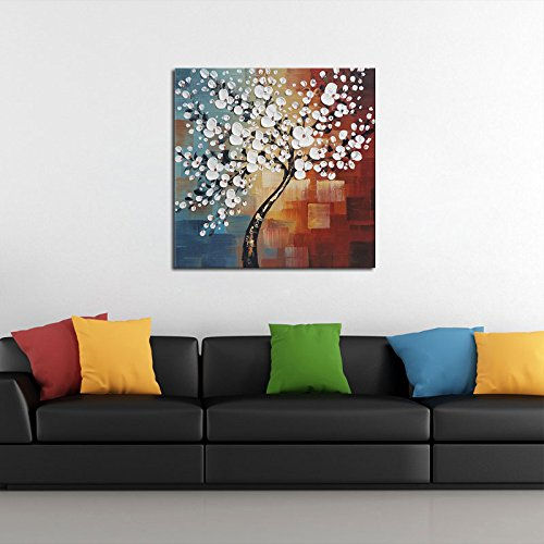 Wieco Art Morning Glory Modern Abstract White Flowers Oil Paintings on Canvas Wall Art 100 Hand Painted Floral Artwork for Living Room Bedroom Home Office Decorations Wall Decor