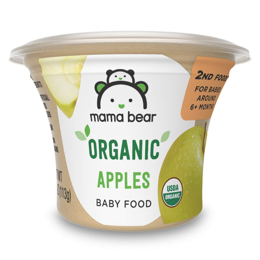 Amazon Brand - Mama Bear Organic Baby Food, Apples, 4 Ounce Tub, Pack of 12
