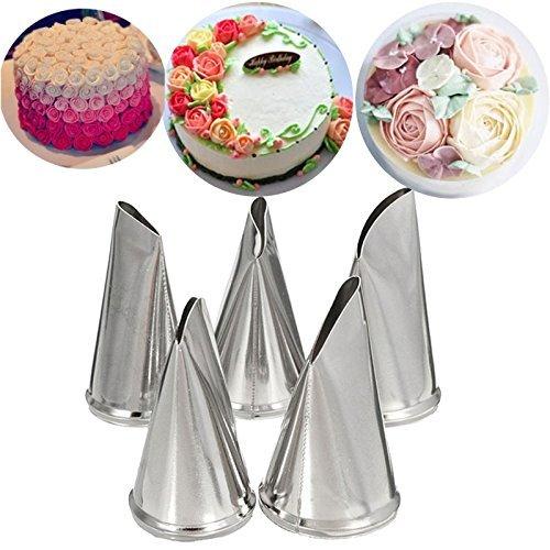 Katoot DIY Rose Petal Icing Piping Nozzles Set Stainless Steel Cake Cream Decorating Tips Baking Bakeware Cupcake Pastry Tools Kit (1)