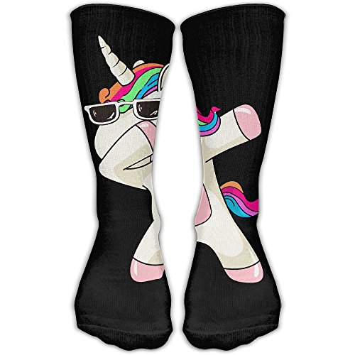 Cool Funny Dabbing Unicorn Rainbow Hair Black Classics Personalized Socks Sport Athletic Stockings 30cm Long Sock For Men Women