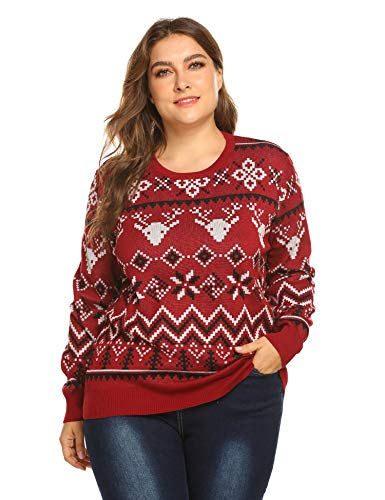 IN'VOLAND Plus Size Women Ugly Christmas Sweater, Reindeer Snowflake Pullover Sweaters Jumper 16W-24W/XL-5XL