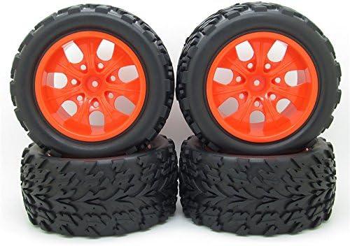 JIUWU RC 1:10 トラック オフロード 車 ラバータイヤ + スポーク7個 ホイールリム ブラック RCカーパーツ 4