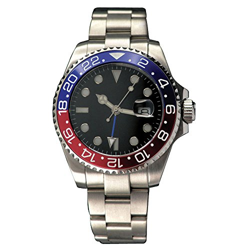 43mm Parnis Sapphire Glass GMT-MASTER II Automatic Red Blue Bezel Mens Watch