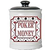 Tumbleweed Poker Money - White Ceramic Jar With Lid - Poker Chips Holder - Gambling Gifts