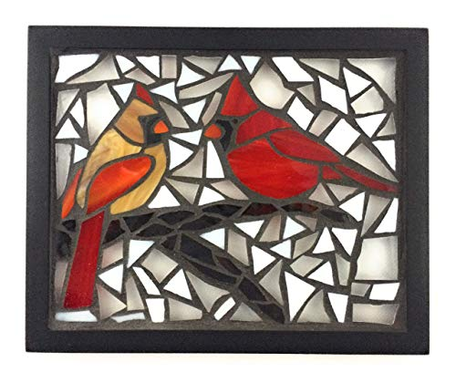 (Cardinals in Winter Stained Glass Mosaic Art Panel in Frame 8 x 10)