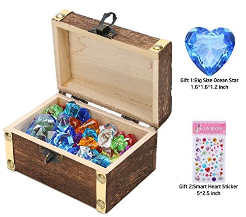 (Children Gems/Diamonds Toys with Antique Wood Treasure Chest Toy (70pcs Ice Gems & 10pcs Diamonds) for Boy/Girl Birthday/Christmas/Easter Gifts for Seeking Treasure/Role-play/Family Game/Pirate Game)