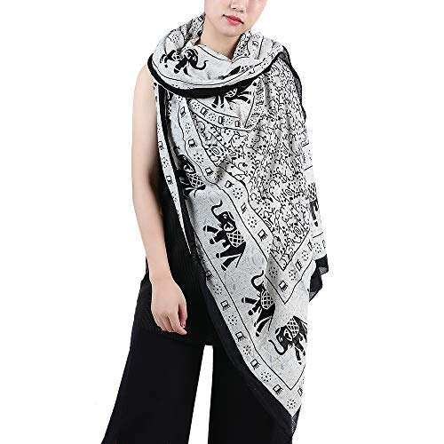 (Lightweight Mascot elephant Design Shawl Scarf Wrap For Women (White))