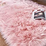 HEQUN Faux Fur Rug Soft Fluffy Rug, Shaggy Rugs Faux Sheepskin Rugs Floor Carpet for Bedrooms Living Room Kids Rooms Decor (Pink, 75X120CM)