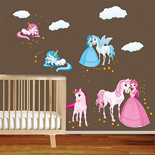 decalmile Princess and Unicorn Wall Stickers Girls Wall Decals Peel and Stick Removable Vinyl Wall Art for Baby Room Kids Bedoom Nursery (Wall Horse Decals And Princess)