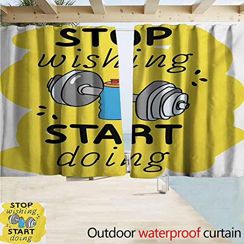 (AndyTours Rod Pocket Top Blackout Curtains/Drapes,Fitness Stop Wishing Start Doing Inspiring Inscription Dumbbells Water Sports Doodle Style,Rod Pocket Curtain Panels,W55x63L Inches,Multicolor)