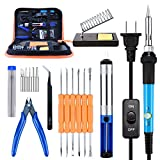 Soldering Iron Kit, Kusonkey Adjustable Temperature Welding Soldering Iron 60W 110V Portable Soldering Iron with PU Carrying Case
