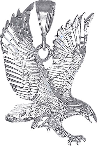 eJewelryPlus Sterling Silver Eagle Charm Pendant Necklace Diamond Cut Finish with Chain (With 24