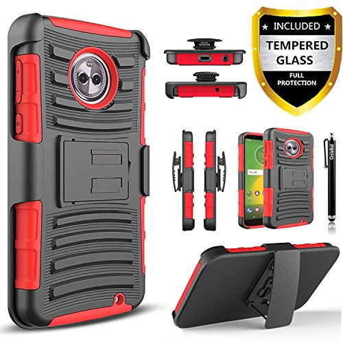 Moto G6 Plus Case, with [Premium Screen Protector Included], [Not Fit Moto G6/G6 Play] Circlemalls Built-in Kickstand Heavy Duty Belt Clip Phone Cover and Stylus Compatible Motorola Moto G6 Plus-Red