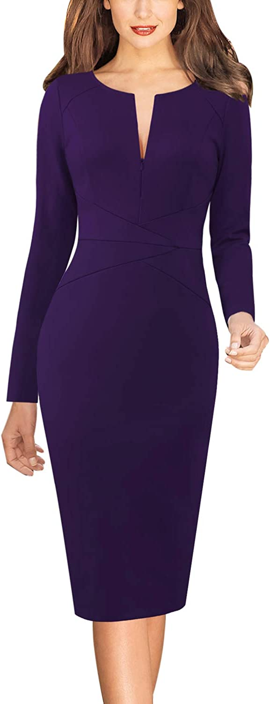 VFSHOW Womens Slim Zipper up Work Business Office Party Sheath Dress