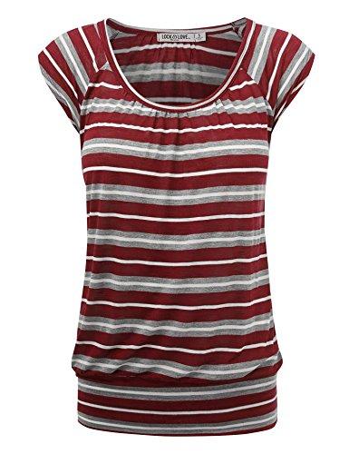 WT1358 Womens Scoop Neck Short Sleeve Stripe Sweerheart Top XL Wine_Stripe