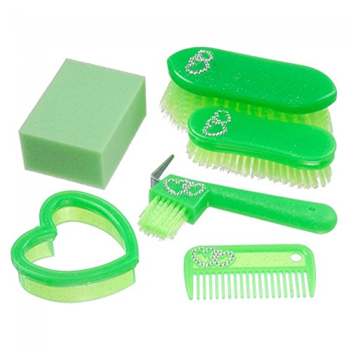 Tough-1 Six Piece Junior Grooming Brush Kit with Crystal Heart Accents (Lime - Grooming Junior