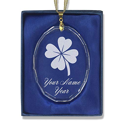 SkunkWerkz Christmas Ornament, Four Leaf Clover, Personalized Engraving Included (Oval Shape)
