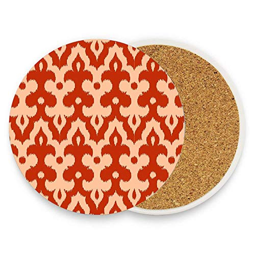 HappyToiletLidCoverX Moroccan Ikat Damask Mandarin Orange Ceramic Coaster Absorbent Stone Coaster for Cold Drinks Coffee Mug Glass Cup Mats Pack Of 1 -