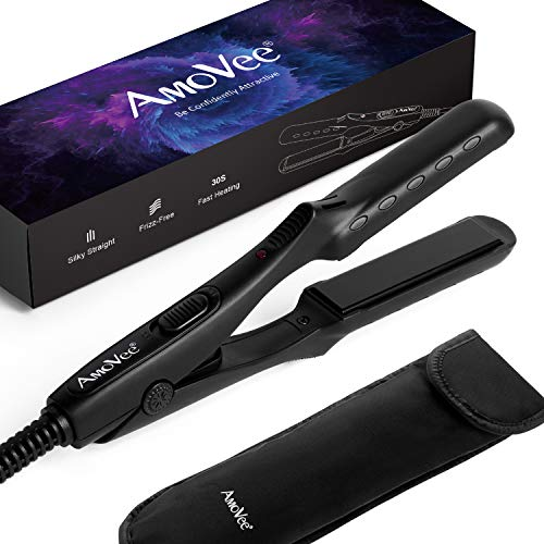 AmoVee Mini Flat Iron Nano Titanium Hair Straightener 3D Floating Plates 1 2 Inch Dual Voltage Instant Heat for Travel, Free Carry Bag Included, Black
