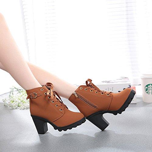 ❤ Botas de tacón Alto para Mujer, Botines de Cordones de Moda con Cordones para Mujer Botas Mujer Invierno Nieve Impermeable Tacon Absolute: Amazon.es: ...