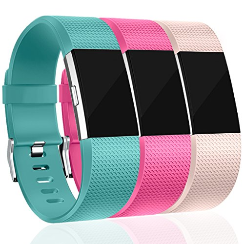 Maledan Replacement Bands for Fitbit Charge 2, Accessory Sport Wristbands Band Compatible for Fitbit Charge 2 HR Women Men, 3-Pack, Blush Pink/Teal/Rose Pink, Small