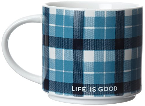 Life is good Ivory Stack-Happy Mug (Turquoise Blue), One Size (Turquoise Stack)