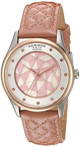 Akribos XXIV Women's Quartz Rose-Tone Case with Genuine Diamond Hour Markers and Mother-of-Pearl Mosaic Dial on Pink Quilted Genuine Leather Strap Watch AK925RGPK