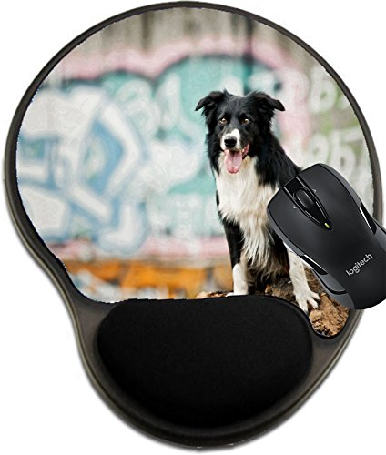 MSD Natural Rubber Mousepad Wrist Protected Mouse Pads/Mat with Wrist Support Design 35631199 Cool Urban Border Collie Dog Portrait on The Graffiti Background