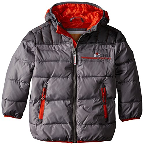 Big Chill Little Boys' Puffer Jacket with Down Fill, Smoked Pearl, 5