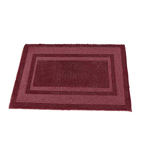 (Collections Etc Plush Two-Toned Double Border Tufted Rug with Ski-Resistant Backing, Home Decor Accent for Any Room, Burgundy, 30