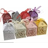LIVDATLIVDAT 50 Pcs Laser Cut Favor Candy Box with Ribbons for Wedding Birthday Shower Party Decors, Assorted Color