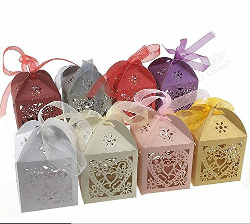 LIVDATLIVDAT 50 Pcs Laser Cut Favor Candy Box with Ribbons for Wedding Birthday Shower Party Decors, Assorted Color for $<!--$9.99-->
