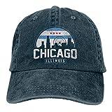 NVJUI JUFOPL USA Chicago City Flag Unisex Hats Washed Denim Baseball Cap Navy