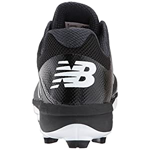 New Balance Men's PL4040v4 Molded Baseball Shoe, Black/White, 6.5 D US