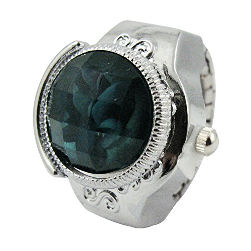 Youyoupifa Round Faceted Crystal Inlay Hunter Case Quartz Finger Ring Watch (Blue)
